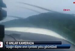 Uçağın düşme anını içerideki yolcu görüntüledi