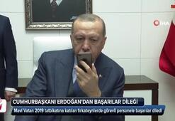 Erdoğandan Mavi Vatan 2019 Tatbikatına katılanlara başarı dileği