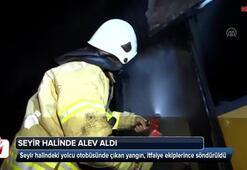 TEMde seyir halindeki yolcu otobüsü yandı