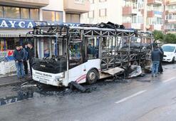 Özel halk otobüsü alev alev yandı Yolcular can havliyle...