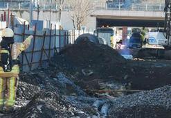 Kadıköyde iş makinesi doğalgaz borusunu patlattı