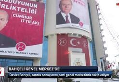 Devlet Bahçeli, sandık sonuçlarını parti genel  merkezinde takip ediyor