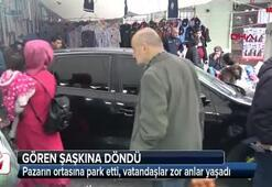 Sultangazide pazar ortasında otomobil engeli