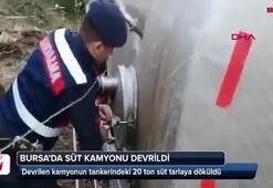 Bursada süt kamyonu devrildi
