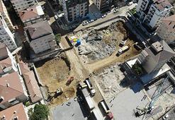 Kartalda yıkılan binanın yerine yeni bina için temel bugün atıldı