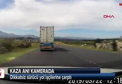 Dikkatsiz sürücü yol işçilerine çarptı