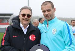 UEFA Başkanı Ceferin ve Bakan Kasapoğlundan TFF Başkanı Hüsnü Güreliye ziyaret