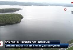İstanbul barajlarındaki son durum havadan görüntülendi