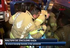 12 araç birbirine girdi: 2 yaralı