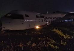 Yolcu uçağı pist dışına savruldu