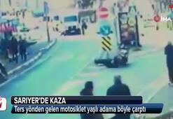 Ters yönden gelen motosiklet yaşlı adama böyle çarptı