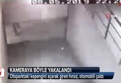 Kadıköy'de site otoparkından araç çalan hırsız kamerada
