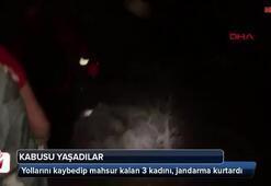 Mahsur kalan 3 kadını jandarma kurtardı