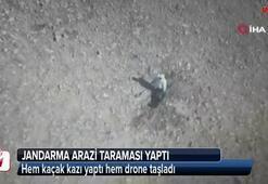Hem kaçak kazı yaptı hem drone taşladı