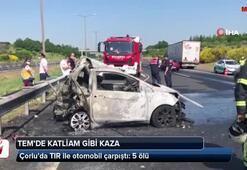 TIR ile otomobil çarpıştı: 5 ölü...