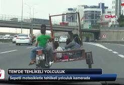 TEMde sepetli motosikletle tehlikeli yolculuk kamerada