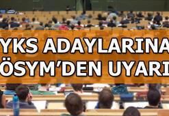 YKS üniversite sınavı için geri sayım ÖSYMden YKS adaylarına uyarı