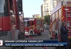 Başkent'te çatısı yanan binadan dumanlar yükseldi