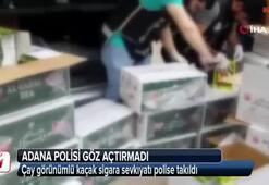 Çay görünümlü kaçak sigara sevkıyatı polise takıldı