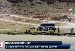 Başkale travertenlerine yerli turist akını