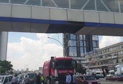 Ankarada vinç üst geçide çarptı: 1 yaralı