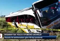 Aksarayda yolcu otobüsü devrildi: 15 yaralı