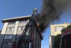 Mecidiyeköyde 5 katlı binanın çatısında yangın