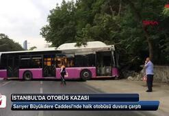 Büyükdere Caddesinde otobüs duvara çarptı