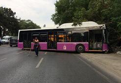 İstanbulda otobüs kazası Duvara çarptı...