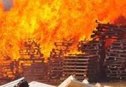 Manisada palet fabrikasında yangın