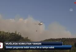 Muğlada korkutan yangın 34 ev tahliye edildi