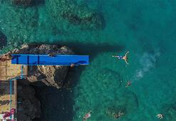 Mavi bayraklı falez plajına büyük ilgi