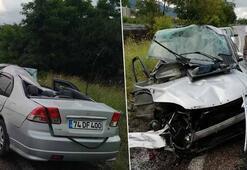 Zonguldakta feci kaza Araç hurdaya döndü
