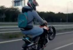Motosikletlinin tek teker terörü kamerada
