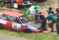 Yarış otomobilleri seyircilerin arasına daldı