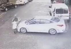 Sarıyerde otomobilin motosikletliye çarptığı kaza kamerada