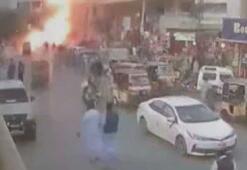 Pakistan'daki patlama güvenlik kamerasında