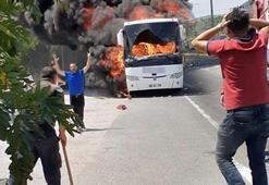 Son dakika... Balıkesirde facia Yanan otobüste 5 kişi öldü