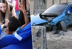 Beton bariyerlere çarpan araç takla attı: 1 yaralı