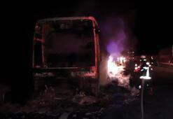 Otobüs yandı 40 yolcu son anda kurtarıldı