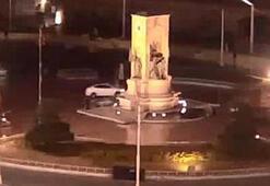 Polisten kaçan araç Cumhuriyet Anıtına çarpıyordu