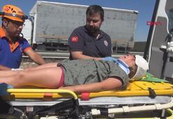 Takla atan otomobildeki anne ve kızı yaralandı
