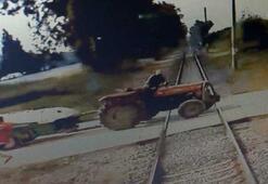Yük treninin traktöre çarpma anı kamerada