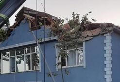 Dev çınar ağacı binanın üzerine devrildi