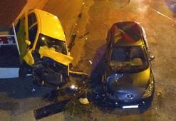 Otomobil 10 metreden başka bir aracın üzerine düştü