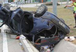 Havzada otomobil devrildi Yaralılar var...