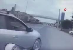 Motor sürücüsünün öldüğü kaza kendi kamerasına yansıdı