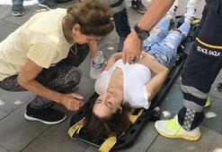İstanbulda kaldırımda yürüyen genç kadına büyük şok Başına taş yağdı