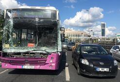 Son dakika... Halk otobüsü kaza yaptı Trafik durma noktasına geldi