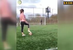 Kadın sporcudan şaşırtan vuruş